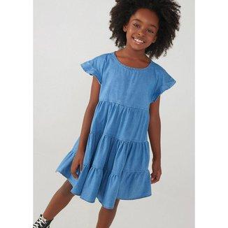 Vestido Jeans Infantil Hering com Recortes Feminino