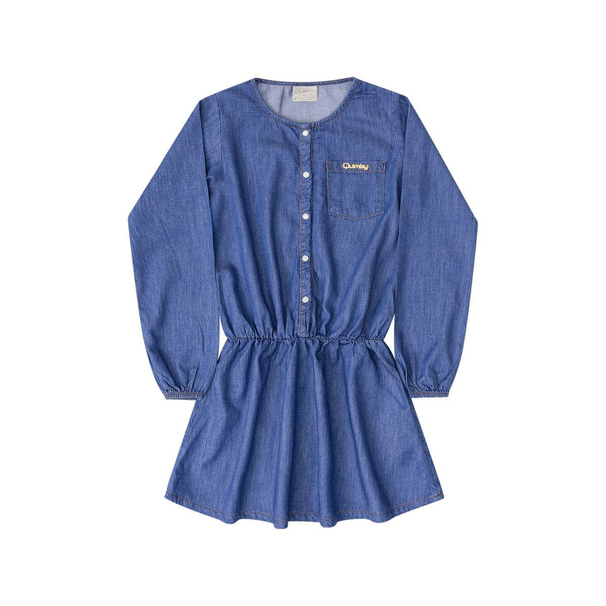 Vestido Jeans Manga Longa Infantil Quimby Feminino - Azul Escuro ... 15e4bc81dda