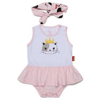 Vestido Jokenpô Bebê Gatinha c/ Faixa