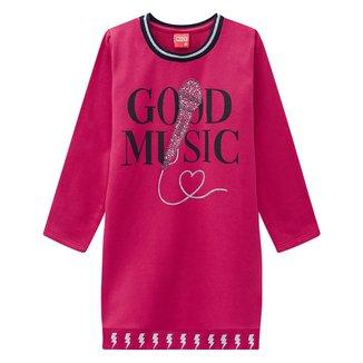 Vestido Juvenil Kyly Moletinho Good Music Manga Longa