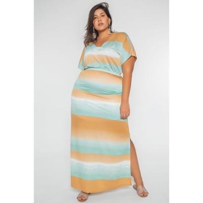 Vestido Kauê Plus Size Longo Malha Feminino - Feminino-Bege