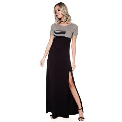 Vestido Knt Longo Fenda Casual-Feminino