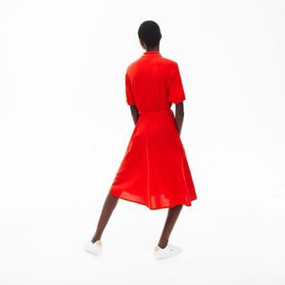 Vestido Lacoste em Petit Pique Feminino Feminino-Vermelho