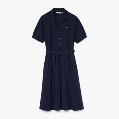 Vestido Lacoste em Petit Pique Feminino Feminino-Azul Navy