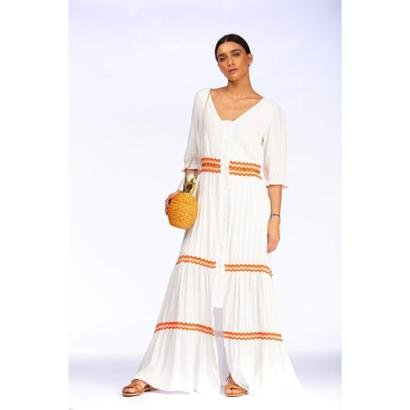 Vestido Lalibela Longo com Renda Laranja Dakar Feminino - Feminino-Branco