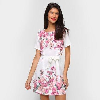 Vestido Lança Perfume Curto Faixa Na Cintura Floral