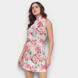 Vestido Lança Perfume Gola Franzida Floral Feminino