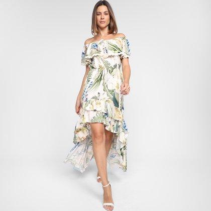 Vestido Lança Perfume Ombro a Ombro Assimétrico Floral