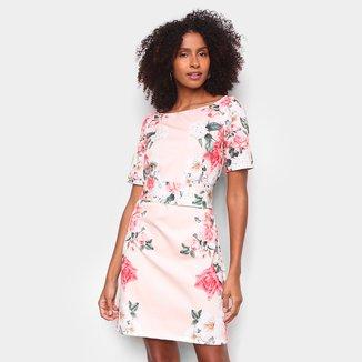 Vestido Lança Perfume Reto Curto Floral Amarração