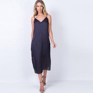 Vestido Lança Perfume Slip Dress Midi Listrado
