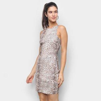 Vestido Lança Perfume Tubinho Curto Animal Print Onça