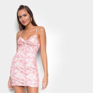 Vestido Lança Perfume Tubinho Curto Justo De Alça Floral