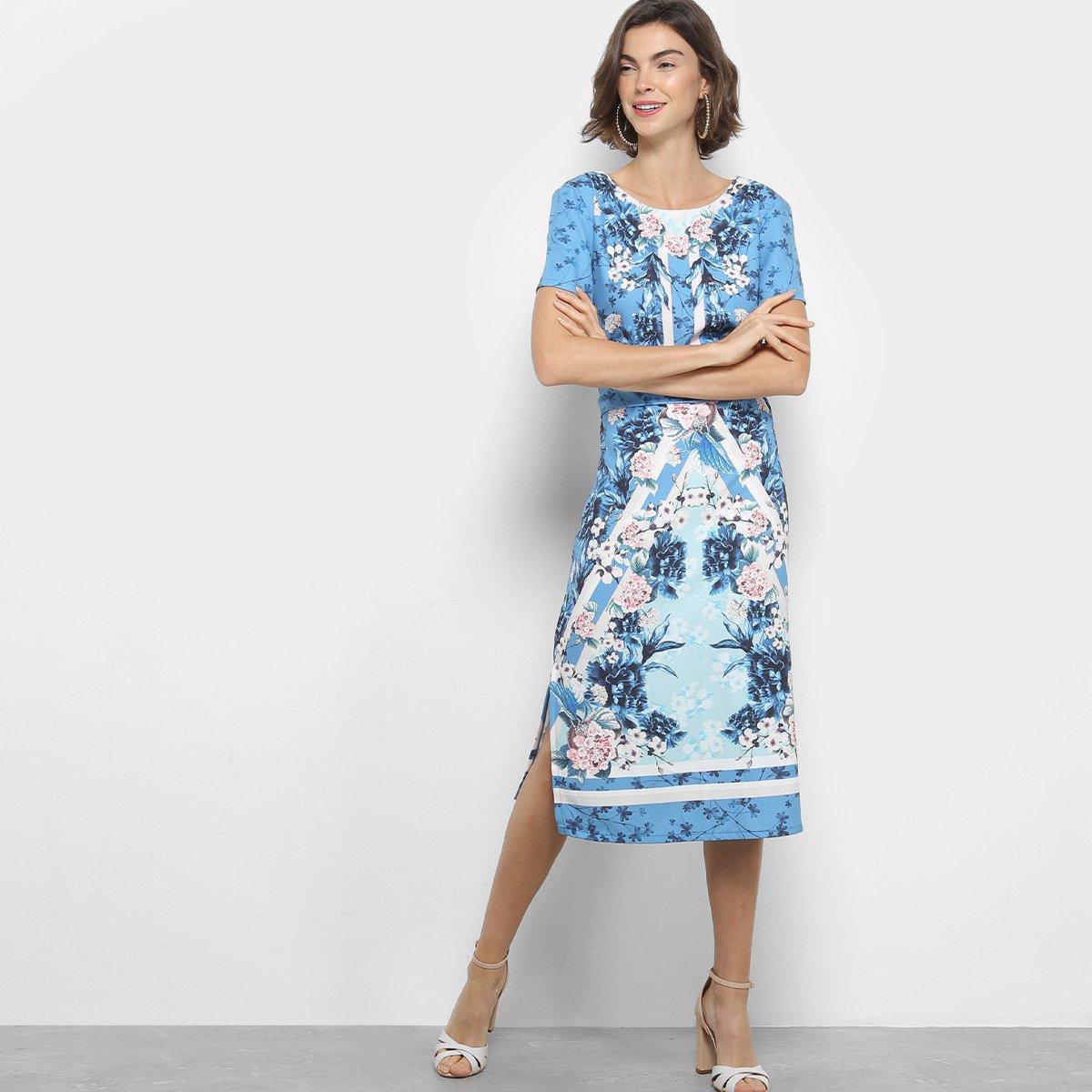 Vestido tubinho floral azul