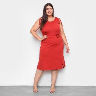 Vestido Lecimar Curto Plus Size Fenda c/ Cinto