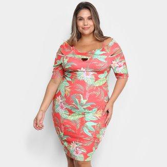 Vestido Lecimar Curto Plus Size Floral