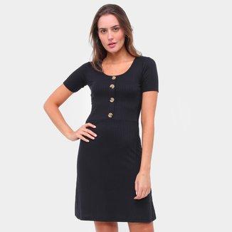 Vestido Lecimar feminino Canelado Botões-1701823