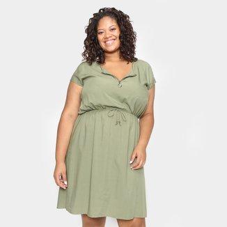 Vestido Lecimar Plus Size Curto Liso