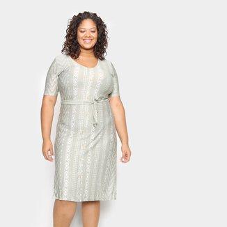 Vestido Lecimar Plus Size Midi Estampado