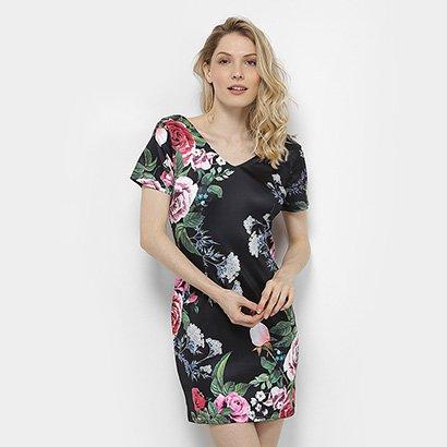 Vestido Lemise Tubinho Curto Floral Decote V-Feminino