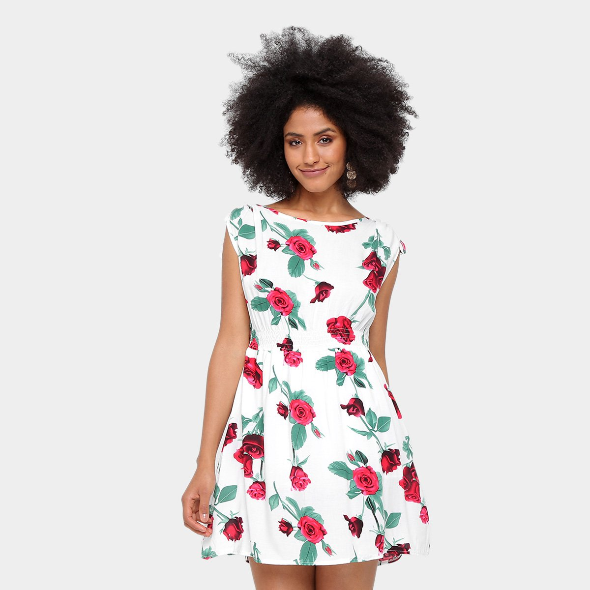Vestido estampado vermelho e branco