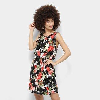 Vestido Lily Fashion Evasê Curto Floral Babado