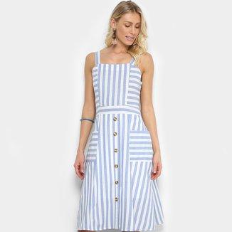 Vestido Lily Fashion Evasê Curto Listrado Bolsos E Botões