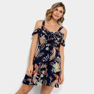 Vestido Lily Fashion Evasê Curto Open Shoulder