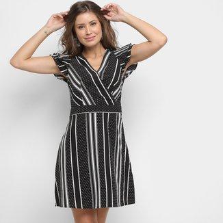 Vestido Lily Fashion Evasê Listras Poás