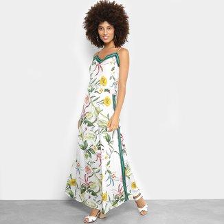 Vestido Lily Fashion Evasê Longo Estampado