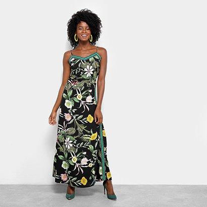 c130bbbb956d Vestido Lily Fashion Evasê Longo Floral Listras Laterais-Feminino ...