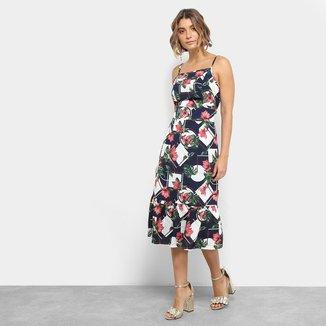 Vestido Lily Fashion Midi Evasê Estampa Floral Detalhe Babado
