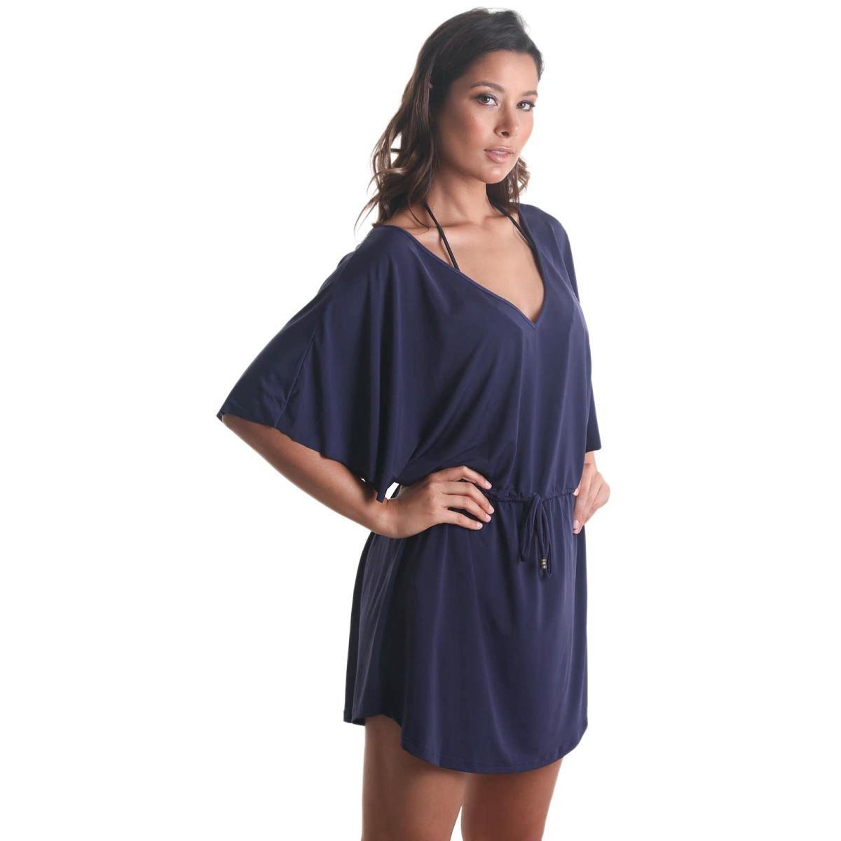 Vestido Líquido Curto Decote V com Puxador Liso Feminino - Azul