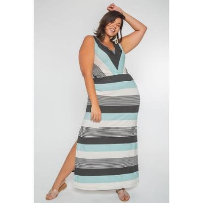 Vestido Listrado Longo Plus Size - Feminino-Azul