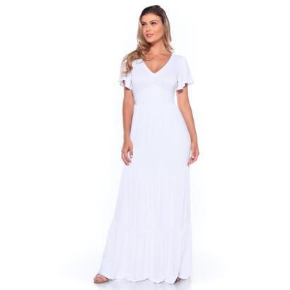 Vestido Livre Liso Longo Manga Curta Forro Feminino - Feminino-Branco