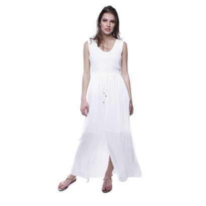 Vestido Longo Amarração Cintura Pop Me Feminino - Feminino-Branco