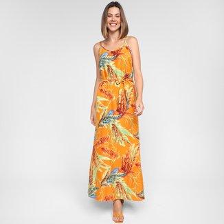 Vestido Longo Ayaka Amarração Floral