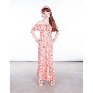 Vestido Longo Besni Infantil Estampa Flores Feminino