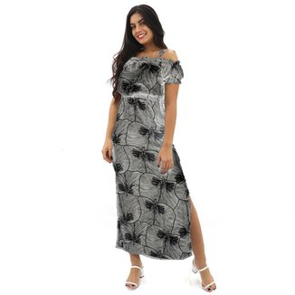 Vestido Longo Ciganinha Com Fenda Folhagem Tropical Alcinha Feminino