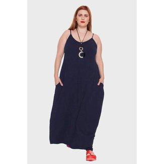 Vestido Longo com Alças Finas Plus Size Feminino