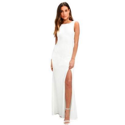 Vestido Longo com Fenda Costa Nua Regata Feminino - Feminino-Branco