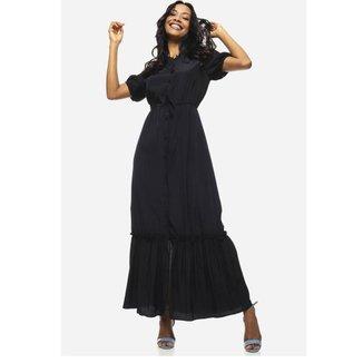 Vestido Longo Com Manga Curta Saia Com Babado Sob Feminino