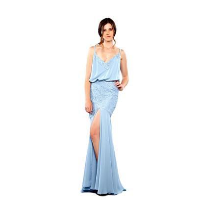 Vestido Longo Em Musseline E Renda Blusado Feminino-Feminino