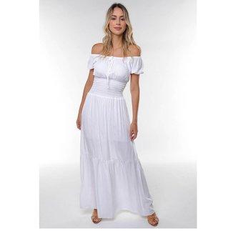 Vestido Longo em Viscose com Linho Ciganinha Rodado Liso Sob Feminino