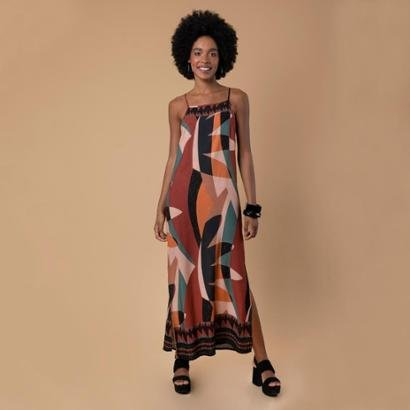 Vestido longo estampa liberdade Feminino