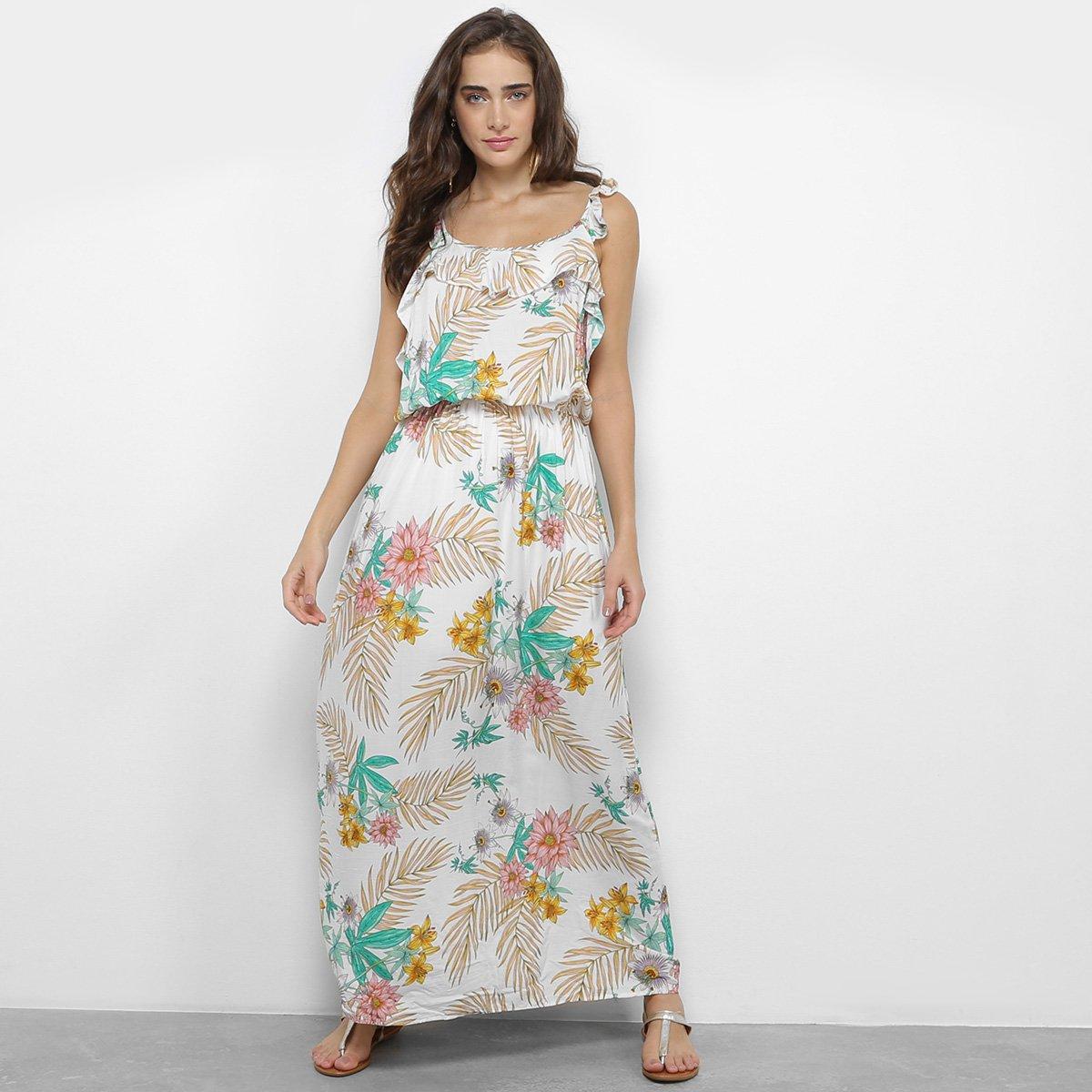 Vestido Longo Estampado Floral Royallove Feminino Branco