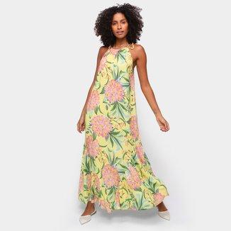 Vestido Longo Farm Abacaflor Fenda