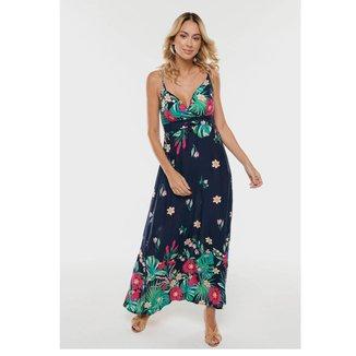 Vestido Longo Floral SOB Transpassado Viscose Feminina