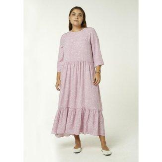 Vestido Longo Hering Manga Longa Estampado Feminino