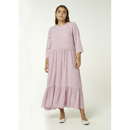 Vestido Longo Hering Manga Longa Estampado Feminino - Rosa