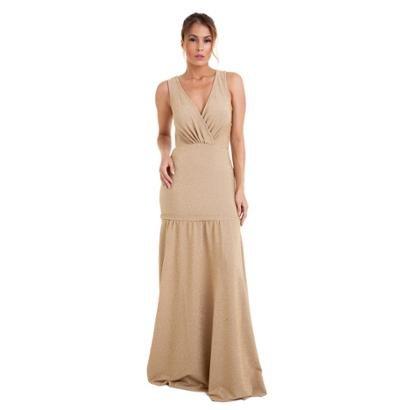 Vestido Longo Izad Em Lurex Decote V Traspassado Feminino-Feminino